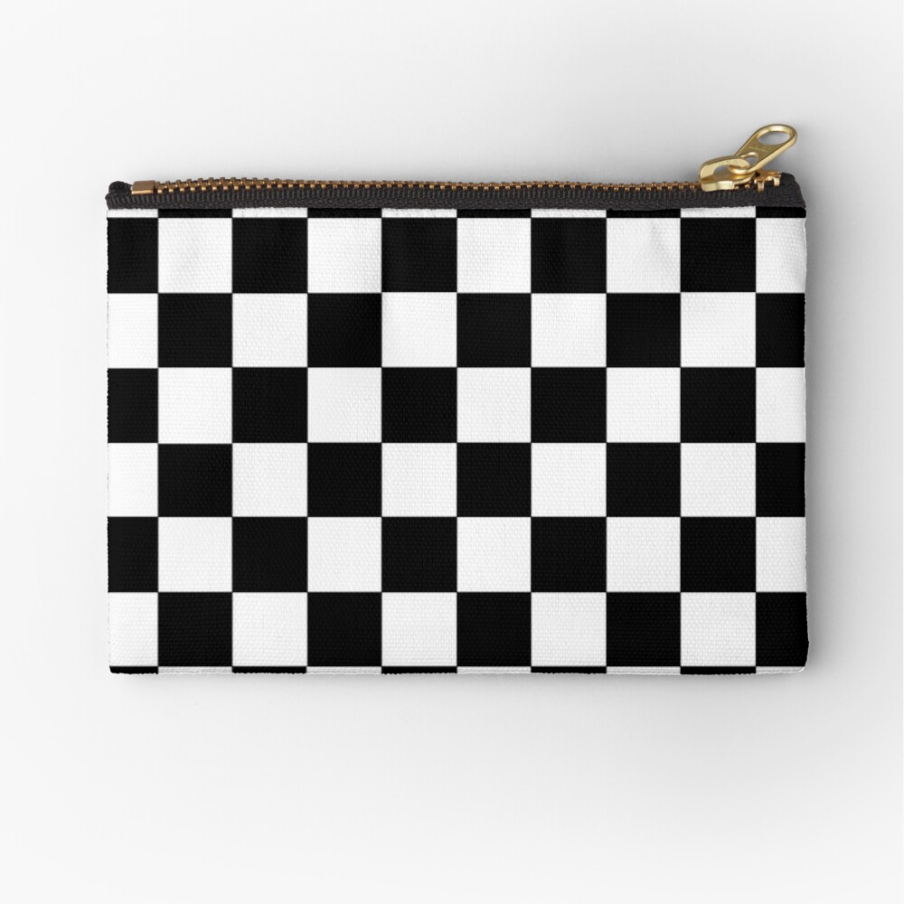 Checkered Black and White Zipper Pouch
