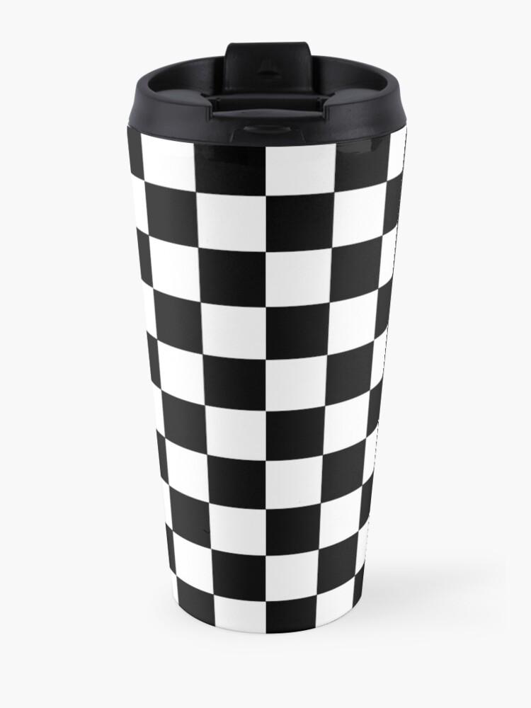 Alternate view of Checkered Black and White Travel Mug