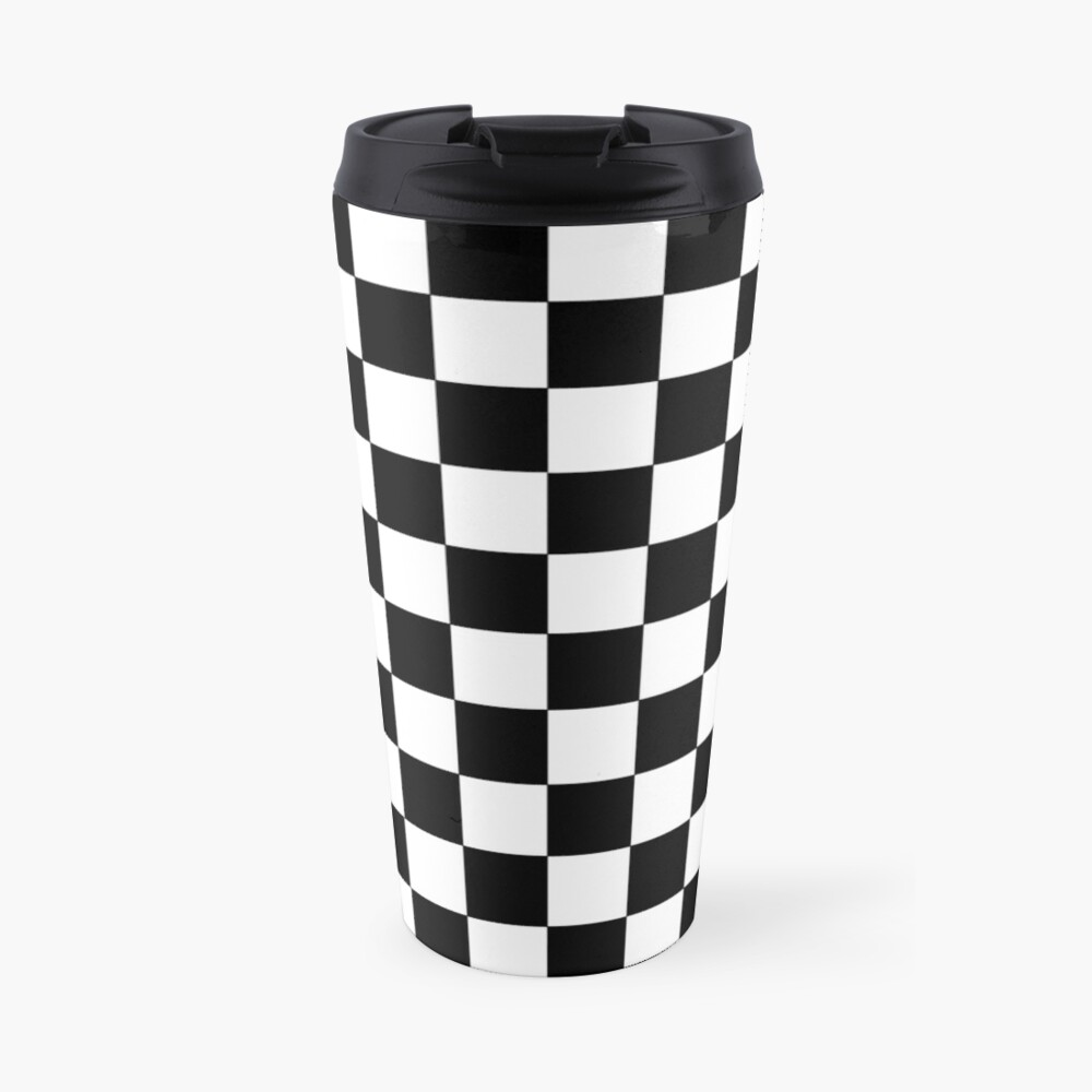 Checkered Black and White Travel Mug