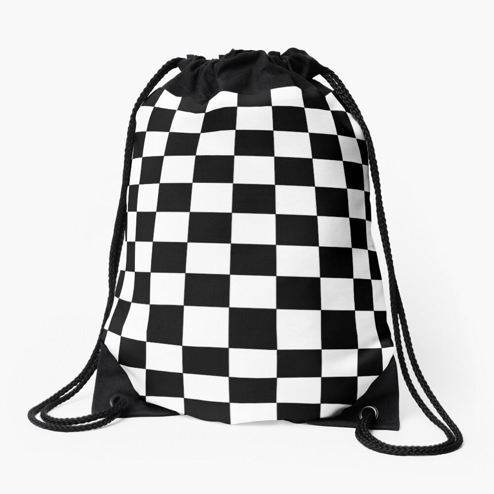 Checkered Black and White Drawstring Bag