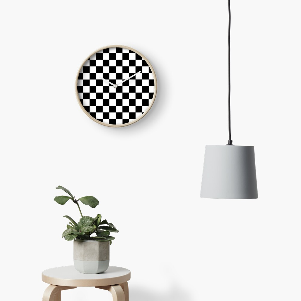 Checkered Black and White Clock