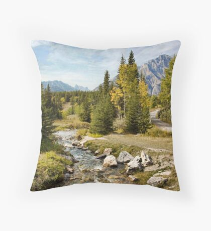 Brook at Johnson Lake, Banff Throw Pillow