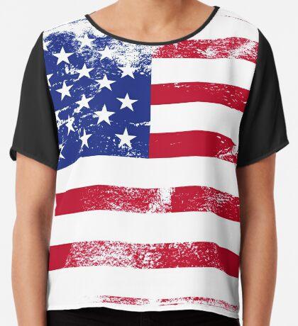 American Flag Used Chiffon Top