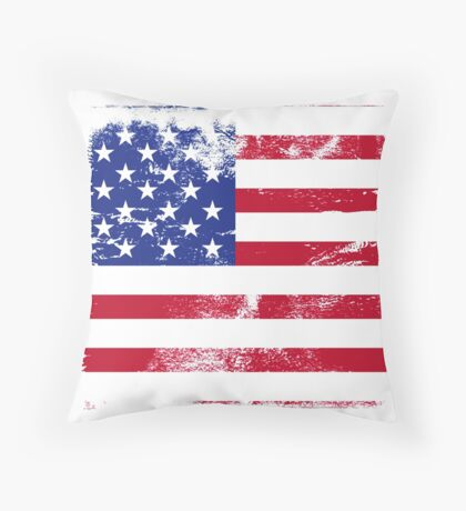 American Flag Used Throw Pillow
