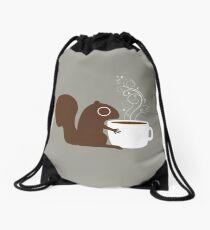 Squirrel Loves Coffee Drawstring Bag