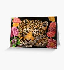 Leopard und Blumen Grußkarte
