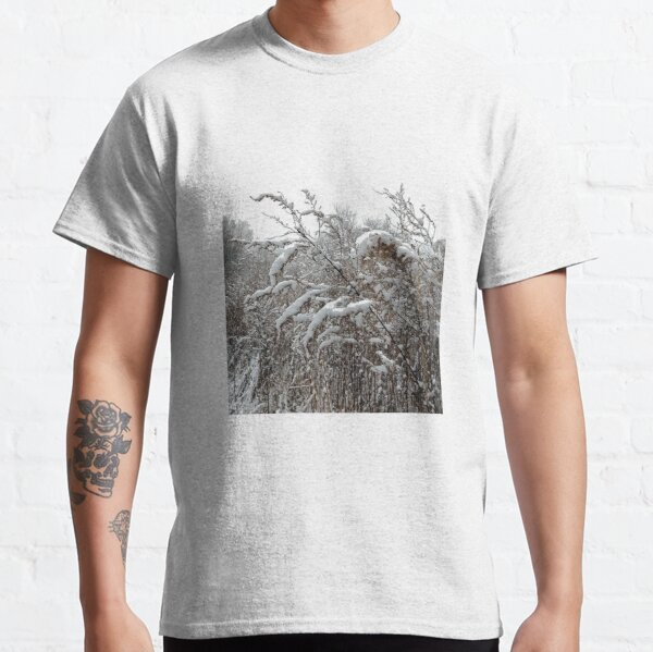High herbaceous plants covered with first snow Classic T-Shirt