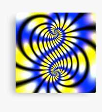 Double Spiral Yellow Blue Canvas Print