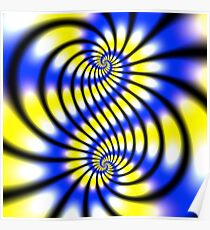 Double Spiral Yellow Blue Poster