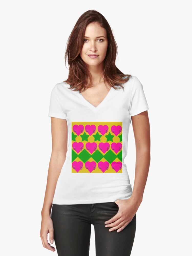 Love hearts, diamonds,and stars. Women's Fitted V-Neck T-Shirt Front