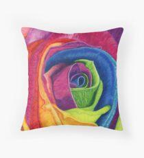 WIDE AWAKE (Rainbow Rose) Throw Pillow