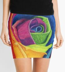 WIDE AWAKE (Rainbow Rose) Mini Skirt