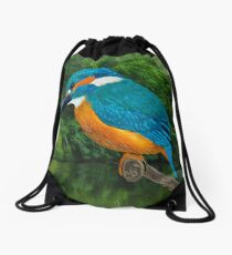 Common Blue Kingfisher Drawstring Bag