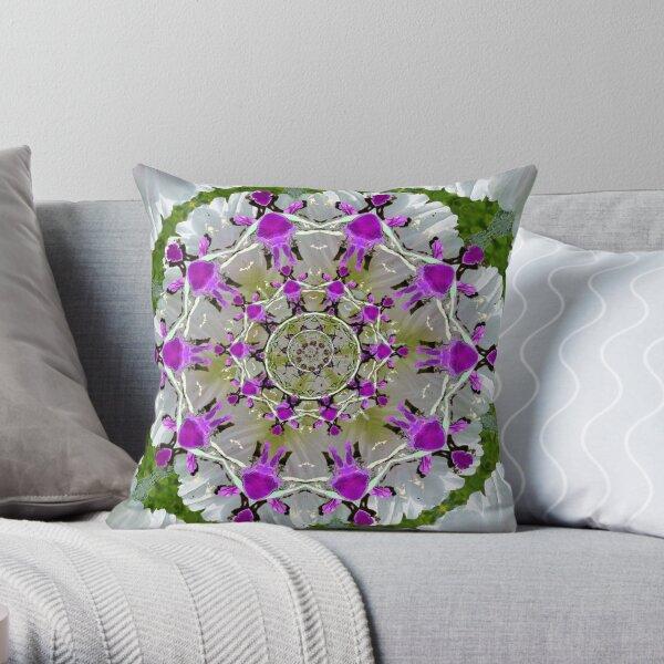 Circle of purple people around a mandala. Throw Pillow