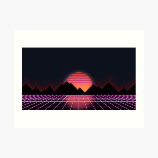 "80s Retro Grid & Rising Sun - ""Event Horizon"" Art Print"