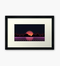 """Lámina enmarcada 80s Retro Grid & Rising Sun - """"Horizonte de eventos"""""""