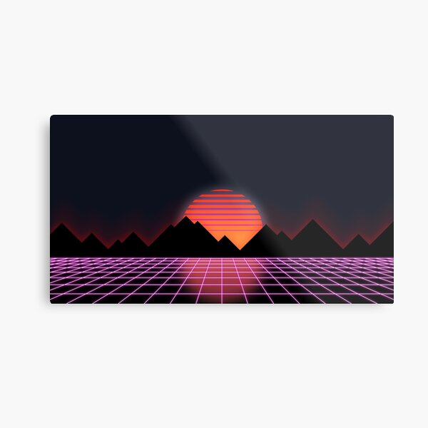 "80s Retro Grid & Rising Sun - ""Event Horizon"" Metal Print"