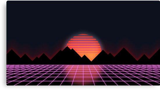"80s Retro Grid & Rising Sun - ""Event Horizon"" by tallestrose"