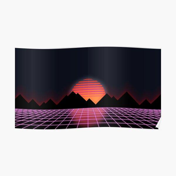 """Retro Grid & Rising Sun des années 80 - """"Event Horizon"""" Poster"""