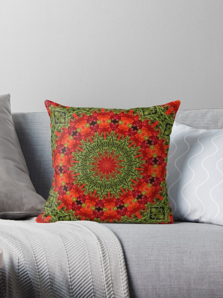 Orange , red and green mandala. by MarilynBaldey7