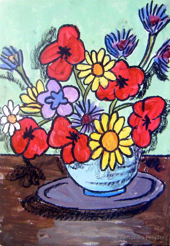 Still Life with Daisies, Poppies and Cornflowers by Alexandra Felgate