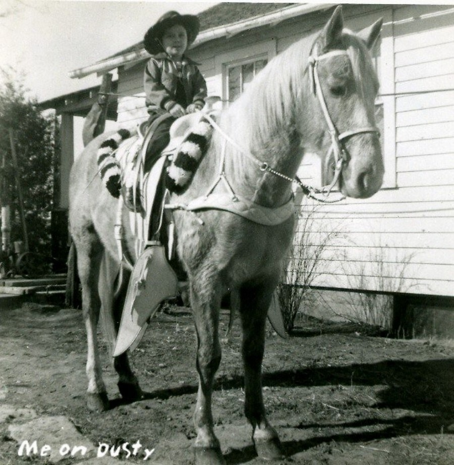me riding Dusty ~ 1950's by boondockMabel