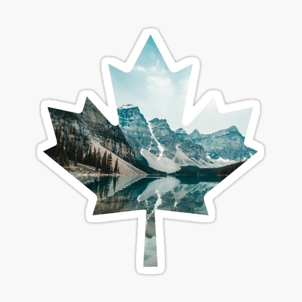 Lake and Mountains - Canadian Maple Leaf Sticker