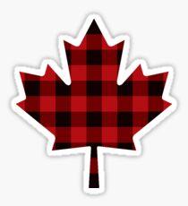 Red Plaid - Canadian Maple Leaf Sticker