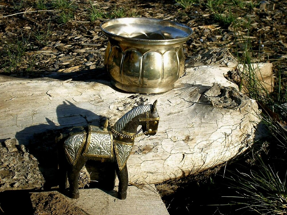 horse from India & bowl by boondockMabel