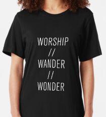 Worship / Wander / Wonder Inspirational Christian Shirt Slim Fit T-Shirt