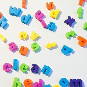 Fridge magnet letters spell Clean bedroom by stuwdamdorp
