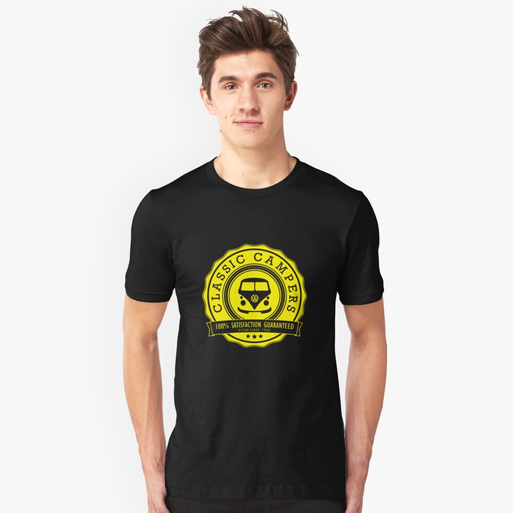 Retro Badge Yellow Classic Unisex T-Shirt Front