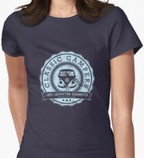Retro Badge Pale Blue Classic Grunge Women's Fitted T-Shirt