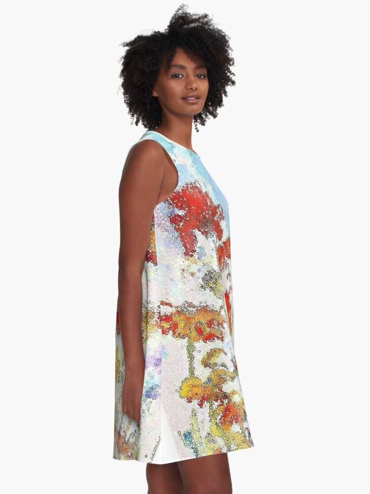 Alternate view of Mosaic poppies A-Line Dress