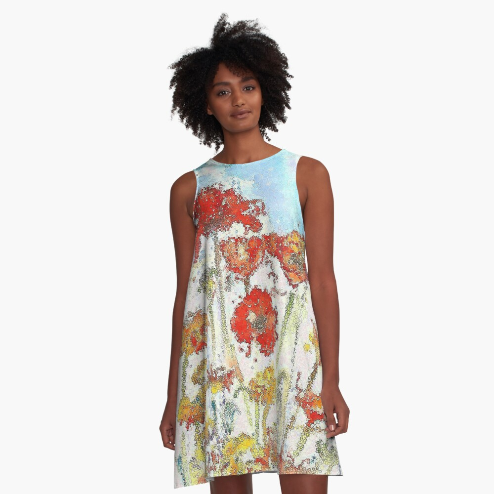 Mosaic poppies A-Line Dress Front