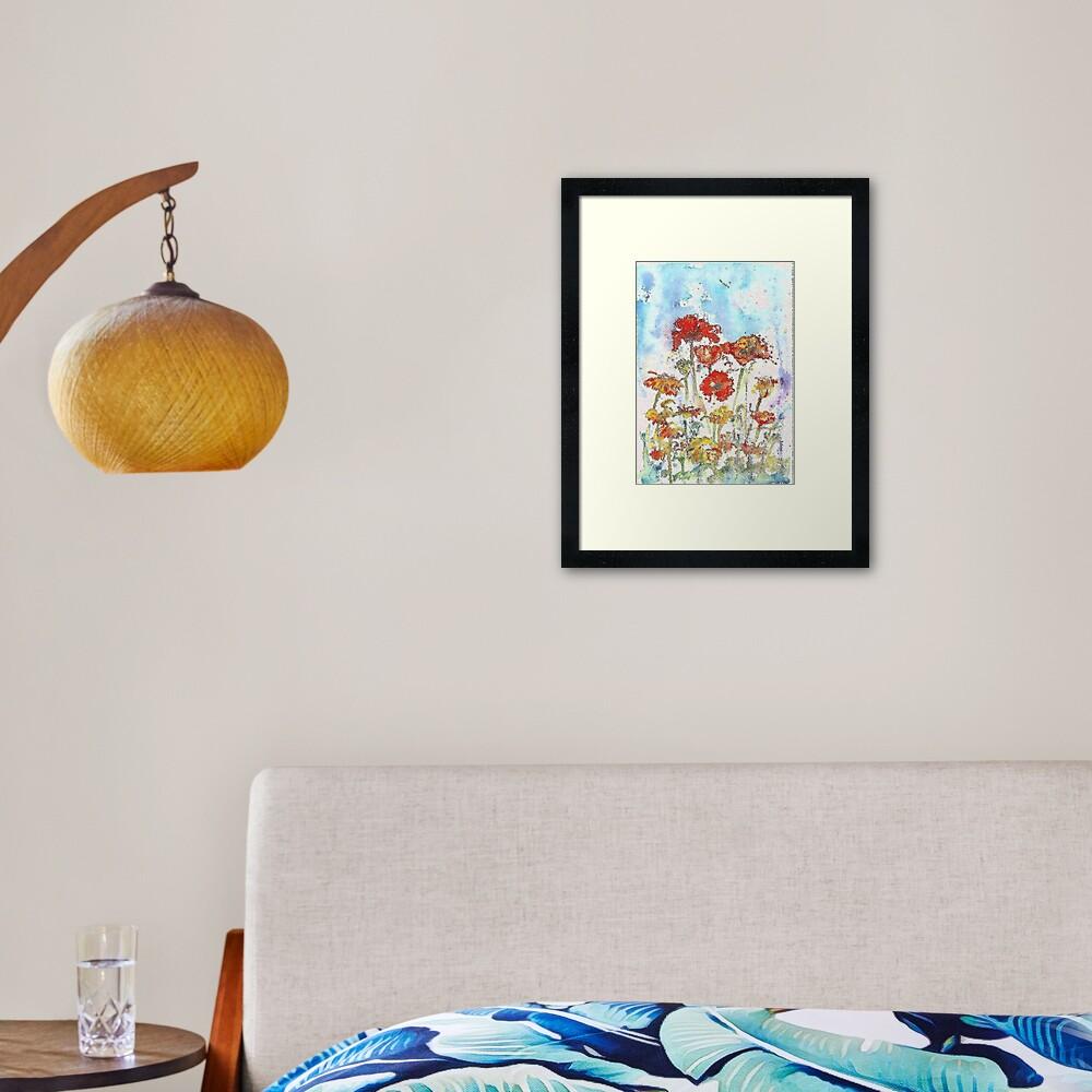Mosaic poppies Framed Art Print