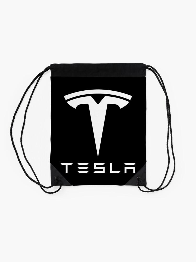 Alternate view of tesla electronic car black Drawstring Bag