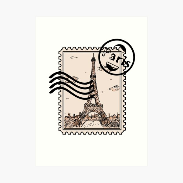 Paris Stamp Art Print