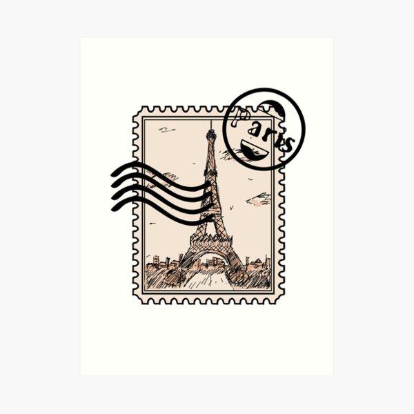 Pariser Briefmarke Kunstdruck