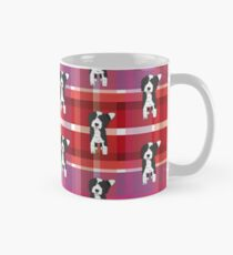 Black and White Doodle - Red Purple Pink Tartan - Declan Mug