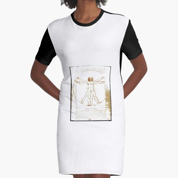 Vitruvian man, Naked man waving his arms and legs #NakedMan #LeonardodaVinci #VitruvianMan #Vitruvian Graphic T-Shirt Dress