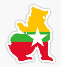 Flag Chinthe of Myanmar Sticker