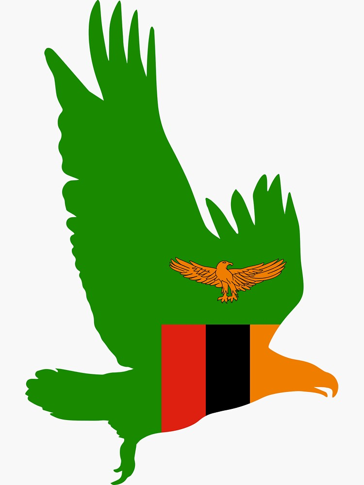 """Flag Eagle of Zambia"" Sticker by fourretout 