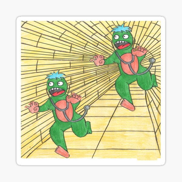Two green aliens, chasing each other Sticker