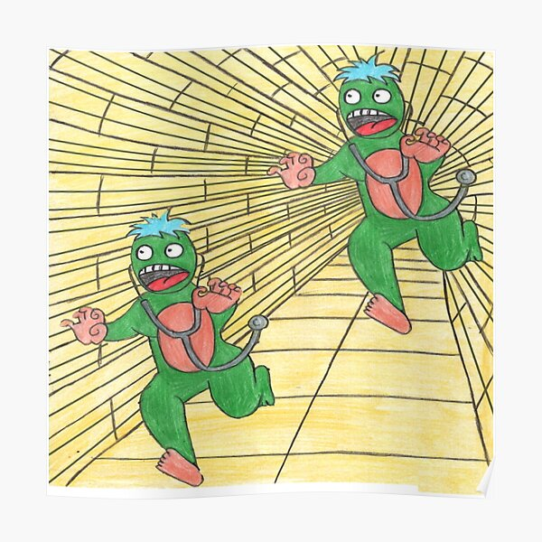 Two green aliens, chasing each other Poster