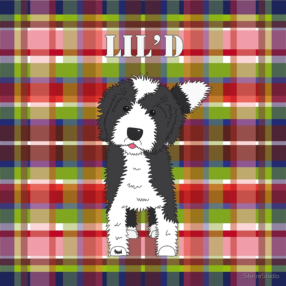 Black and White Doodle Dog - Red Blue Green Tartan - Lil'D - Little
