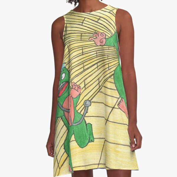 Two green aliens, chasing each other A-Line Dress