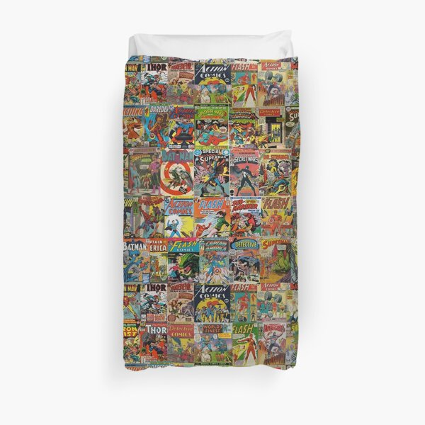 Vintage Comic Book Pattern Duvet Cover