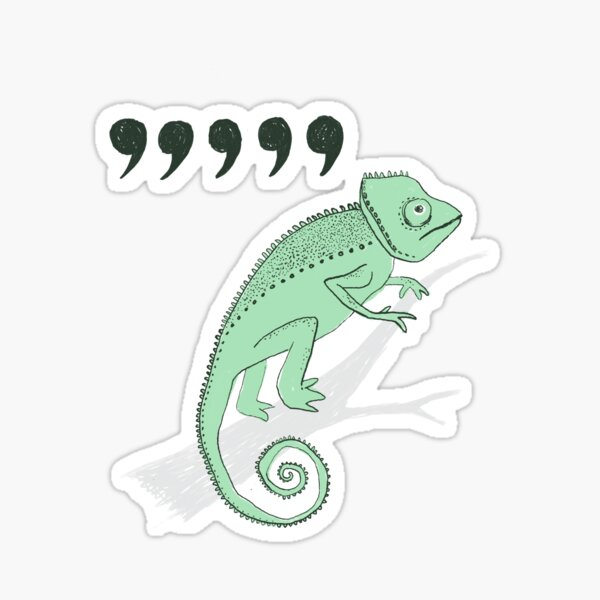 comma chameleon Sticker
