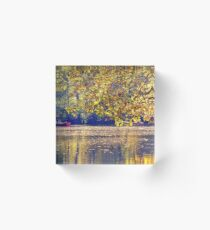 Row boats on a autumn pond Acrylic Block